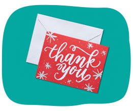 Red thank you card for link to AG stationery