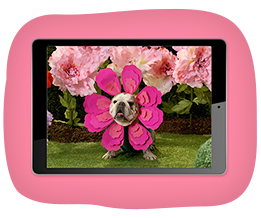 Cute dog dressed as a flower in pink on iPad screen for link to AG ecards page
