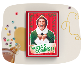 Elf Santa's Coming card for link to AG holiday boxed cards